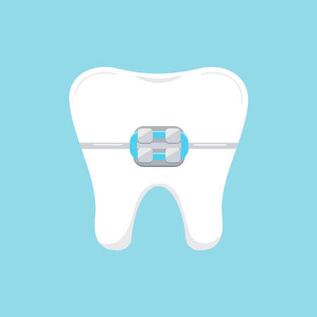 Tooth in braces dental icon isolated on blue background. 向量圖像