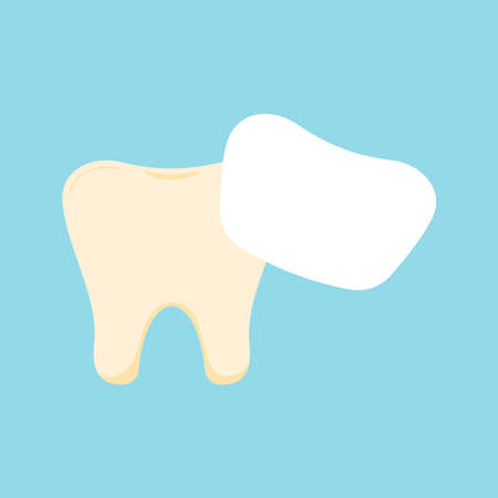 Tooth with venner dental icon isolated on blue background.