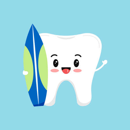 Cute tooth with surfboard for summer sea sport in hands.