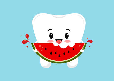 Cute tooth molar with watermelon piece in hand.