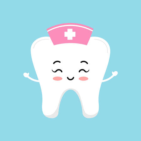 Cute tooth nurse with pink medical cap and cross. 向量圖像