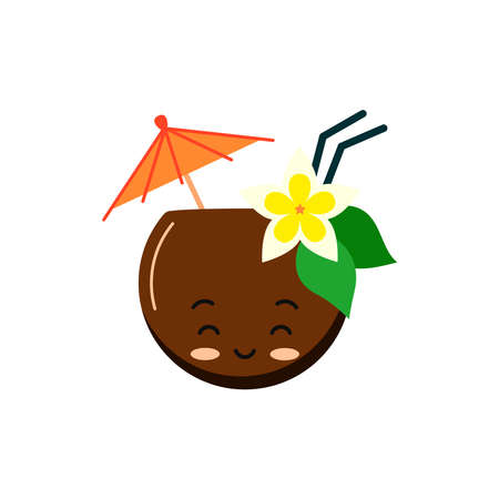 Cute coconut coctail with straw, flower and umbrella
