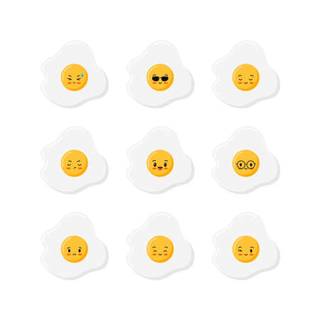 Cute fried eggs icon set, top view, isolated on white background.