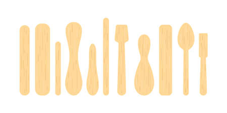 Popsicle stick and wood spoon for ice cream, medical tongue depressor set. 向量圖像