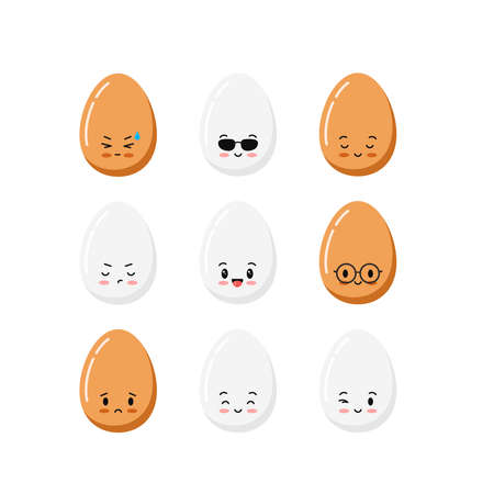 Cute chicken egg cartoon character icon set isolated on white background. 向量圖像