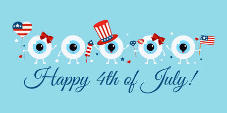 Cute 4th July eye balls with accessories on greeting card. 向量圖像