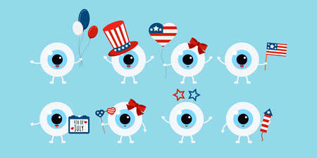 4 th of July eye ball icon set isolated.