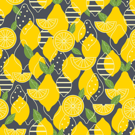 Lemon summer fruit with ornament and slice seamless pattern on background. 向量圖像