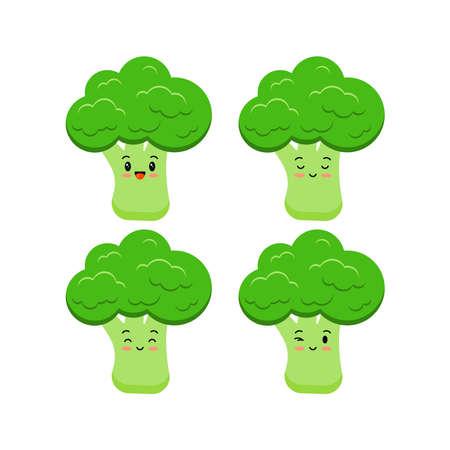 Cute broccoli funny cartoon vegetable food icon set isolated on white background. 向量圖像
