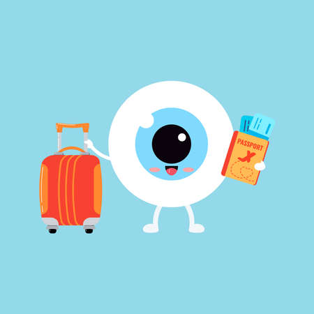 Cute eye ball emoji with suitcase and passport with tickets isolated.