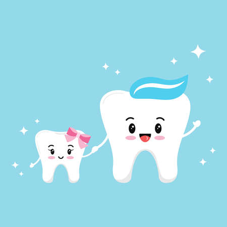 Happy smiling teeth family isolated on blue background.