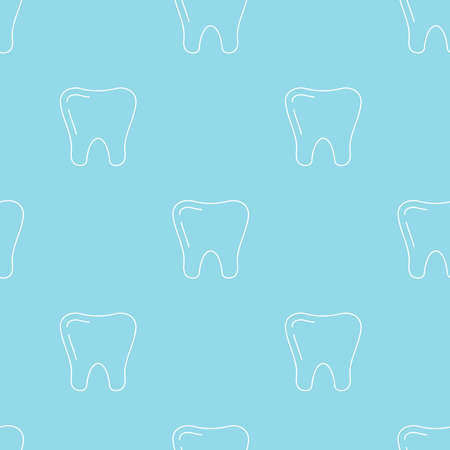 White tooth linear style vector seamless pattern. . 向量圖像