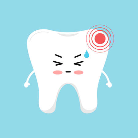 Tooth with strong pain ache dental icon isolated on blue background. 向量圖像