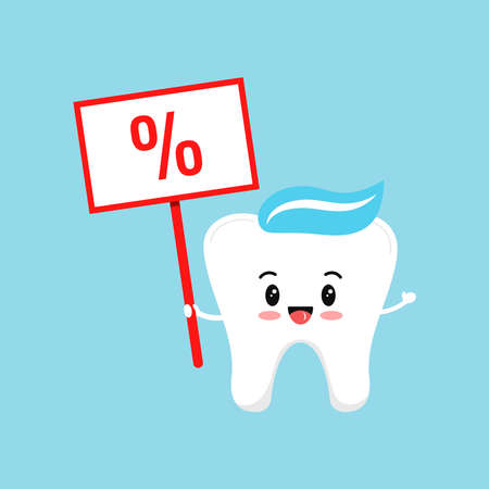 Cute tooth with percent on plate isolated on background. 向量圖像
