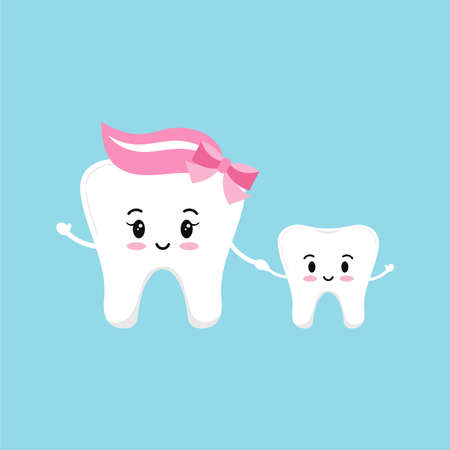 Happy smile teeth family isolated on blue background.