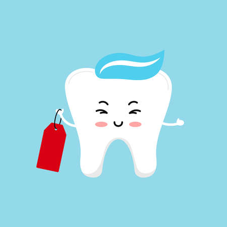 Cute tooth holding label isolated on background.