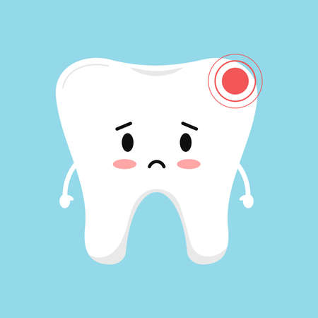 Sad tooth with pain ache dental icon isolated on blue background. 向量圖像