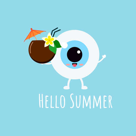 Cute eye ball emoji with hawaii coconut cocktail wit umbrella and flower.