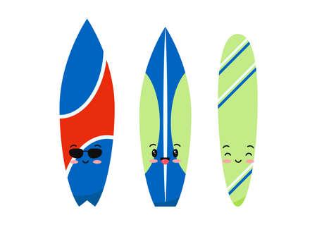Surfboard emoji set isolated on white background.