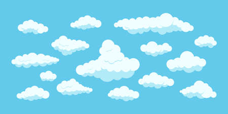 Fluffy clouds set isolated on blue heaven background.