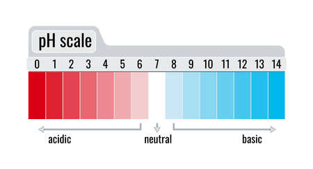 pH value scale chart meter for acid and base solutions isolated on white background.