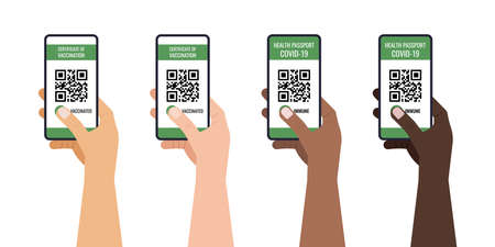 Green certificate of vaccination on mobile phone in hand 向量圖像