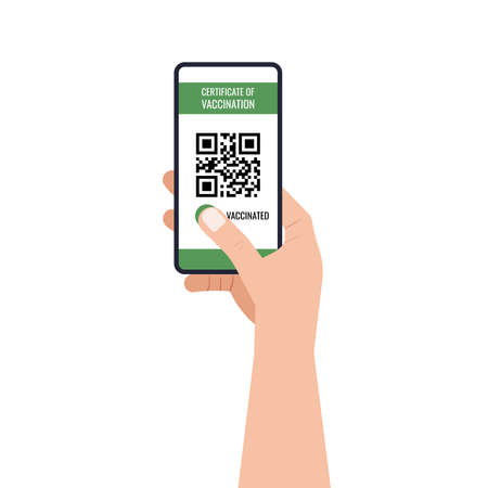 Certificate of vaccination on mobile phone screen in hand