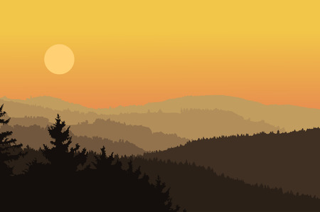 dramatic sky: Panorama landscape with dark silhouettes of hills, forest, mountains, dramatic clear sky, sunset - vector illustration