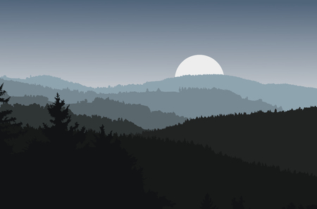 silhuette: Panorama landscape with dark silhouettes of hills, forest, mountains, dramatic clear sky, moonrise - vector illustration Illustration