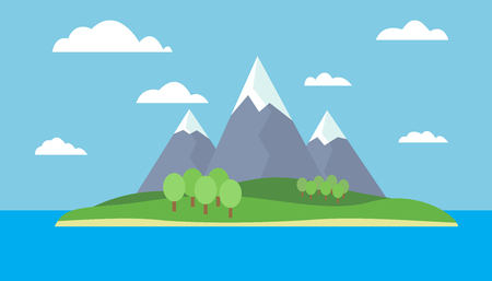 Cartoon landscape of the island with mountains, the ocean, the sky with clouds - vector illustration Illustration