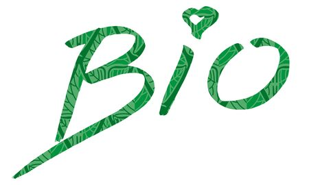 The handwritten, green Bio sign with text, isolated on white background - vector Illustration