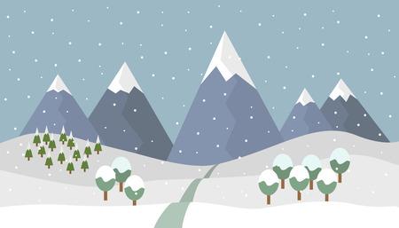 De berglandschap van de beeldverhaal sneeuwberg met dalende sneeuw en bomen en weg in de bergen - vectorillustratie