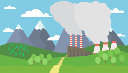 business scene: View of the mountain landscape with hills and trees with snow on the peaks and factory with smoking chimneys under blue sky with clouds - vector