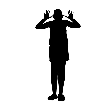 ridicule: black silhouettes of a ridicule girl isolated on white background - vector