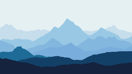 high sierra: panoramic view of the mountain landscape with fog in the valley below with the alpenglow blue sky and rising sun - vector Illustration