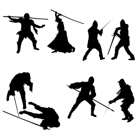 Set of silhouettes of fighters, swordsmen, lancers, men and women in armor with a sword, spear and staff, isolated on white background - vector Иллюстрация