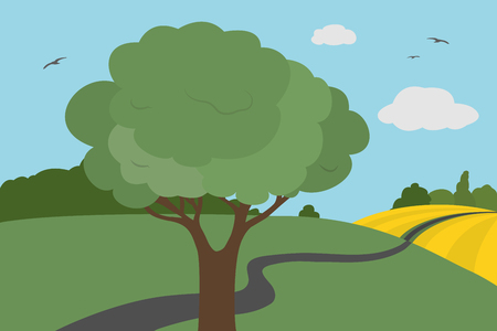 Cartoon colorful view of meadows and field around the road with bushes and tree with leaves under a clear sky with clouds and flying birds in summer or autumn day, suitable for vacation - vector illustration Illustration
