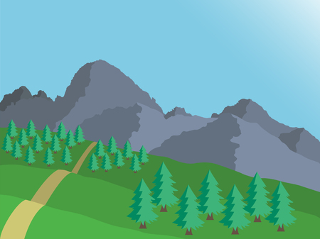 Cartoon view of mountain landscape of High Tatras in Slovakia with coniferous trees under blue sky - vector