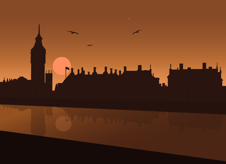 Night view of London with River Thames, Big Ben, Parliament and Westminster Palace with reflections in water under night sky with moon and stars and with seagull - vector illustration