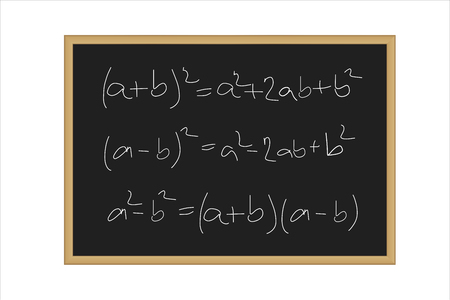 Realistic vector illustration of a black board with mathematical formulas written in chalk isolated on a white background