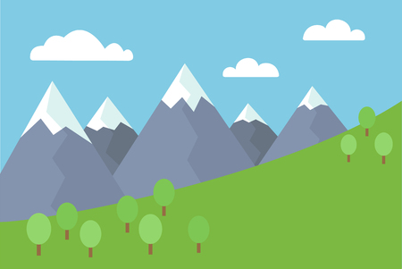 hiking: Cartoon colorful vector flat illustration of mountain landscape with snow covered peaks with trees and meadow under blue sky with clouds