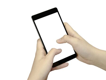 lady on phone: Closeup view of a hand with fingers holding a black cell phone with white screen isolated on white background