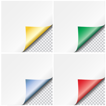 Set of colorful vector paper curled corners isolated on transparent background 矢量图像