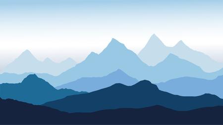 vista panoramica del paesaggio di montagna con nebbia nella valle sottostante con il cielo blu alpenglow - vettoriale