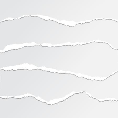 Set of torn paper edges, seamless horizontal - vector