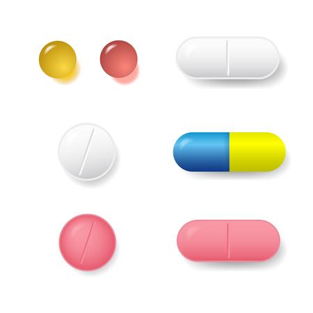 Satz verschiedene Vektorpillen und -tabletten lokalisiert auf weißem Hintergrund Standard-Bild - 81308401