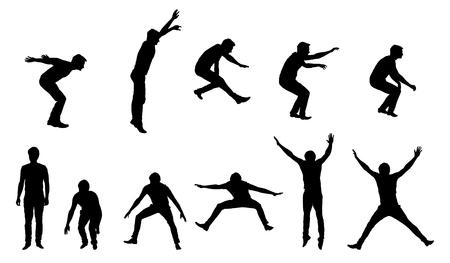 Ensemble de silhouettes de vecteur de jeune homme en mouvement et de saut, isolé sur fond blanc