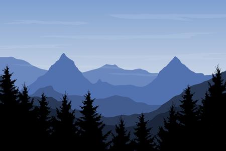 Vista panoramica del paesaggio montano con foresta e collina sotto il cielo blu con nuvole - illustrazione vettoriale Vettoriali
