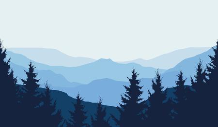 Vista panorâmica da paisagem de montanha de inverno com floresta e com espaço para texto, ilustração vetorial Ilustración de vector