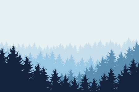 Blue vector illustration of forest in winter under blue sky, layered Ilustração